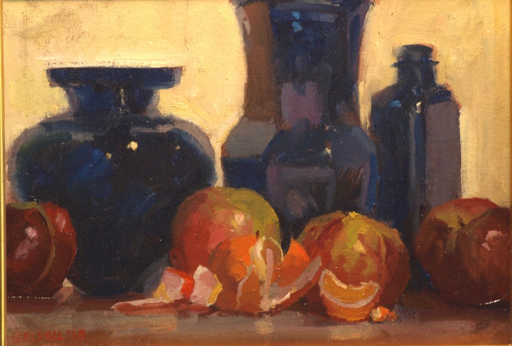 Cobalt Glass and Fruit, Oil on Canvas on Panel, 12 x 16 Inches, by Susan Grisell, $275