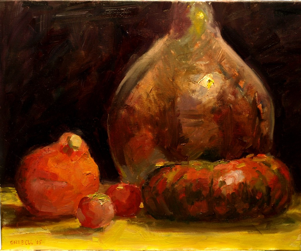 Glass Bottle - Squash - Apples, Oil on Canvas, 20 x 24 Inches, by Susan Grisell, $850