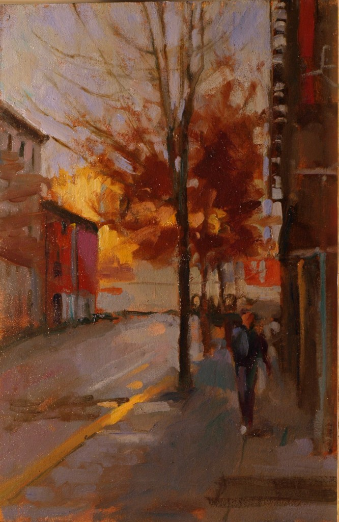 Morning on Eighth Street, Oil on Canvas on Panel, 18 x 12 Inches, by Susan Grisell, $350