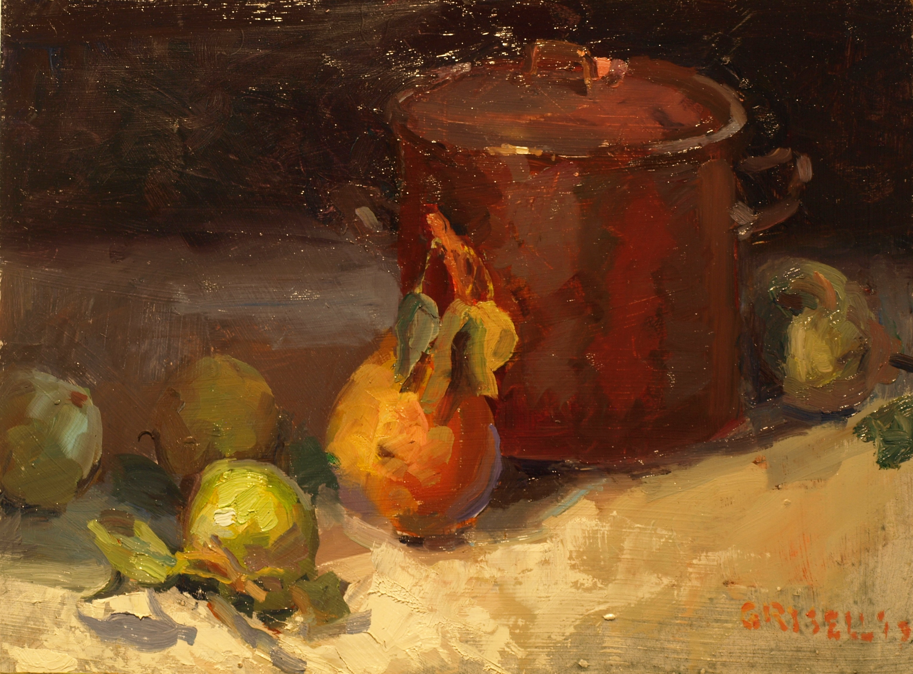 Pears and Copper, Oil on Panel, 12 x 16 Inches, by Susan Grisell, $325