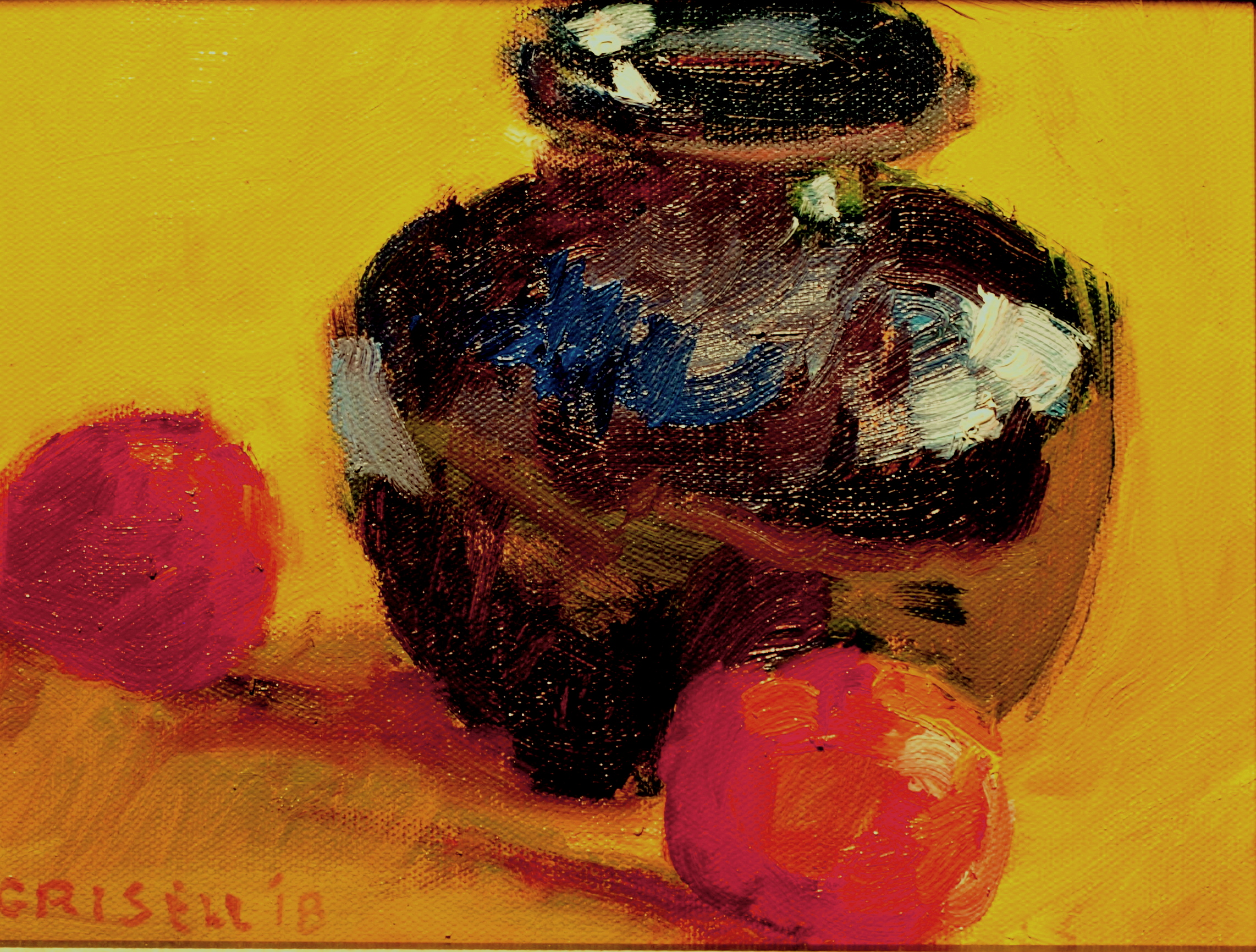 Tangerines and Cobalt Vase, Oil on Panel, 8 x 10 Inches, by Susan Grisell, $200