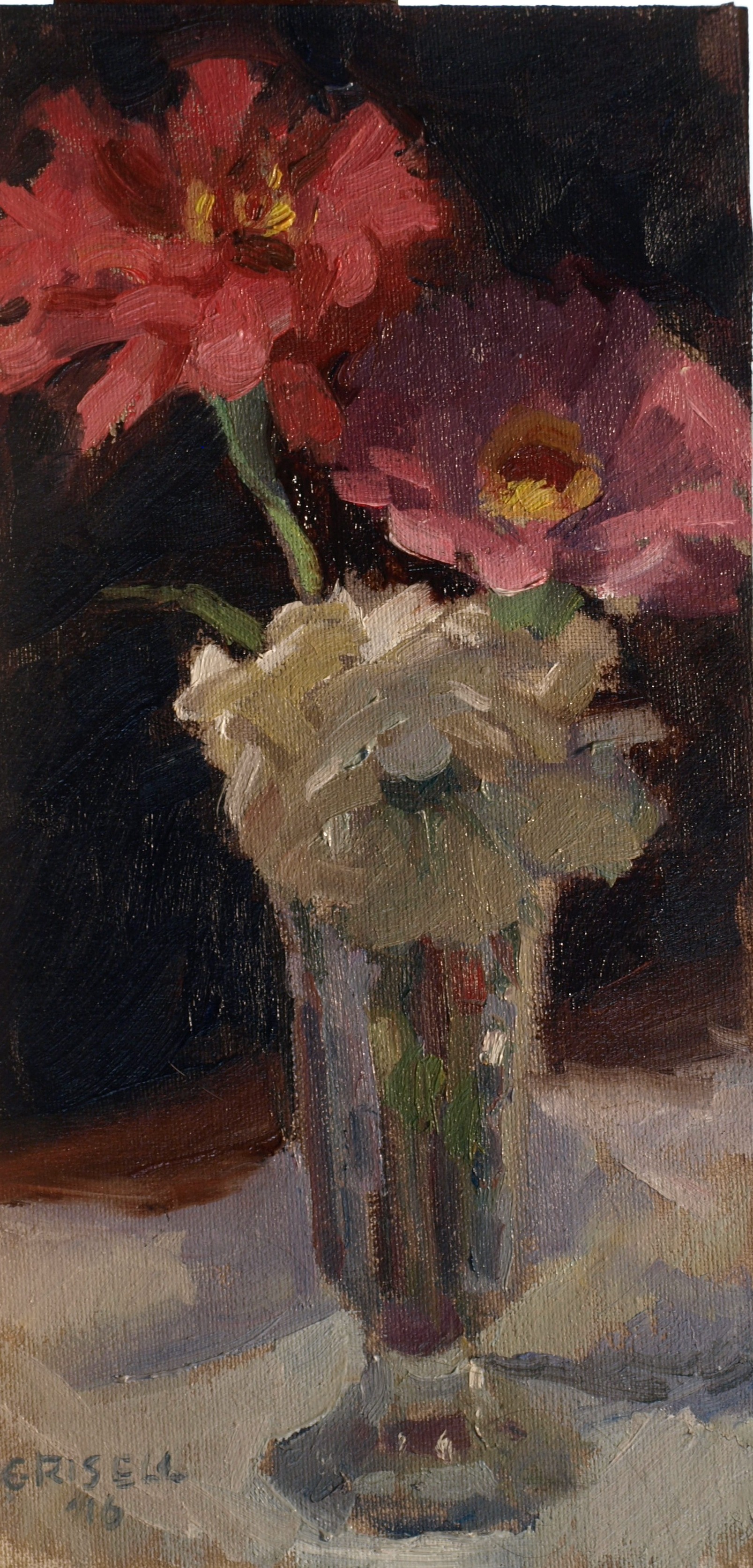 Zinnias, Oil on Canvas on Panel, 12 x 6 Inches, by Susan Grisell, $200