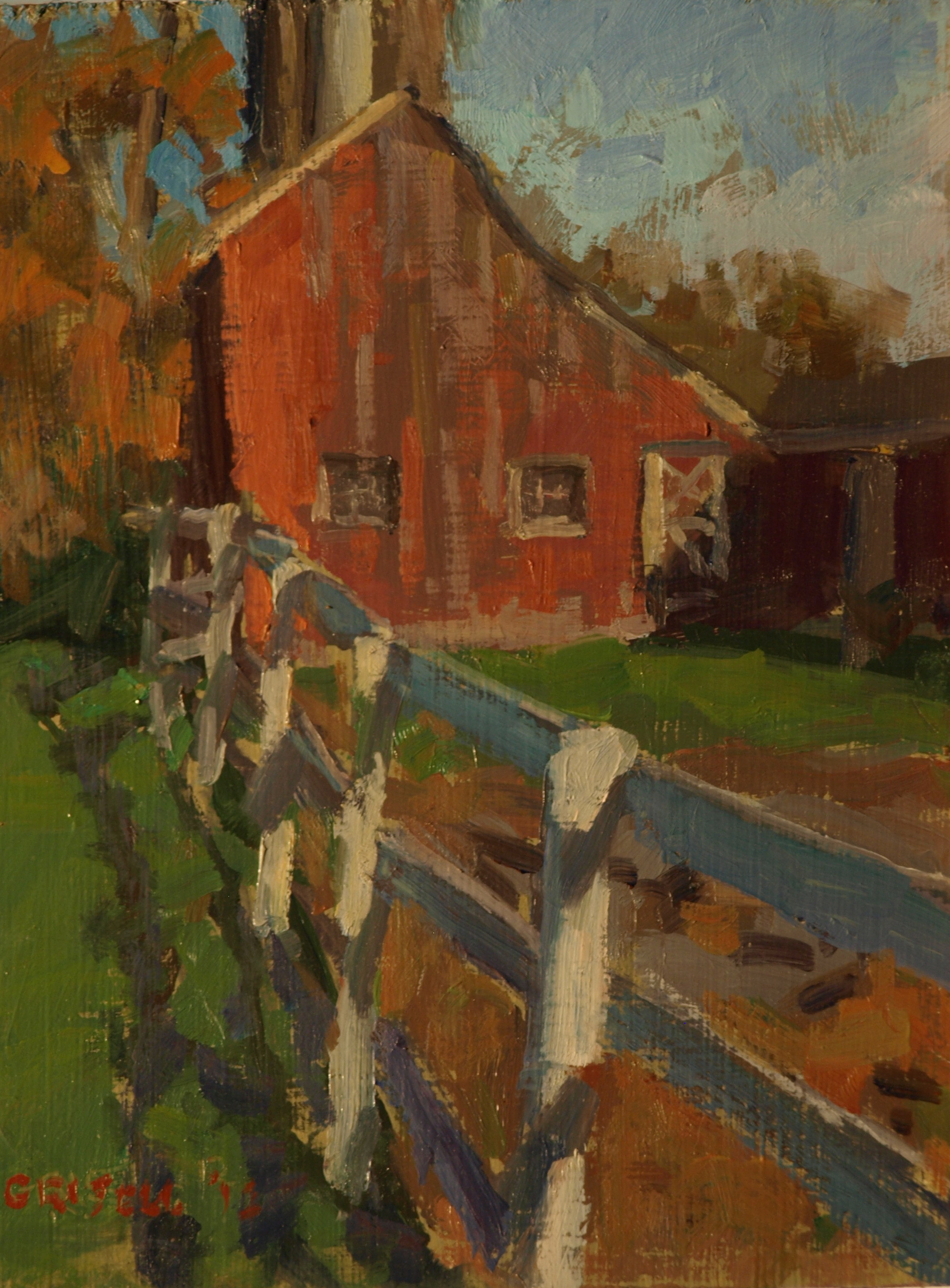 Barn and Fence, Oil on Canvas on Panel, 10 x 8 Inches, by Susan Grisell, $150