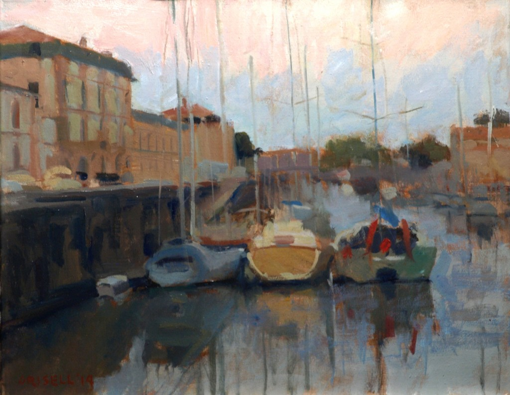 Boats - Rochefort, Oil on Canvas, 16 x 20 Inches, by Susan Grisell, $450
