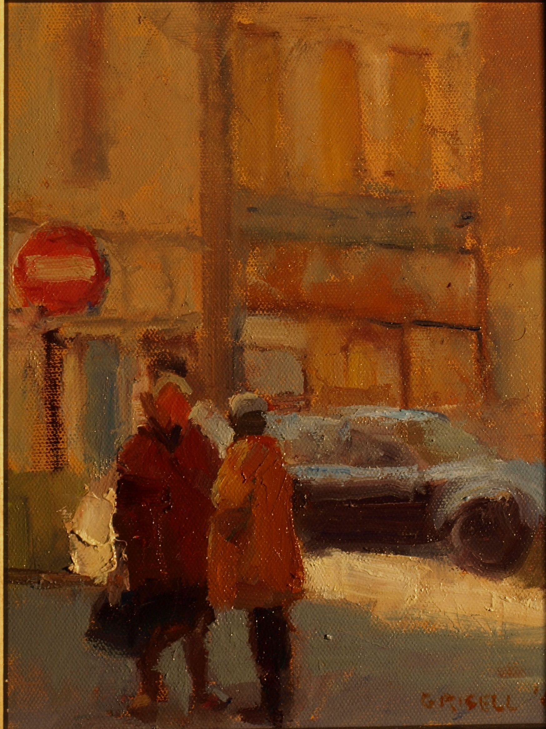 Gossip, Oil on Panel, 10 x 8 Inches, by Susan Grisell, $200