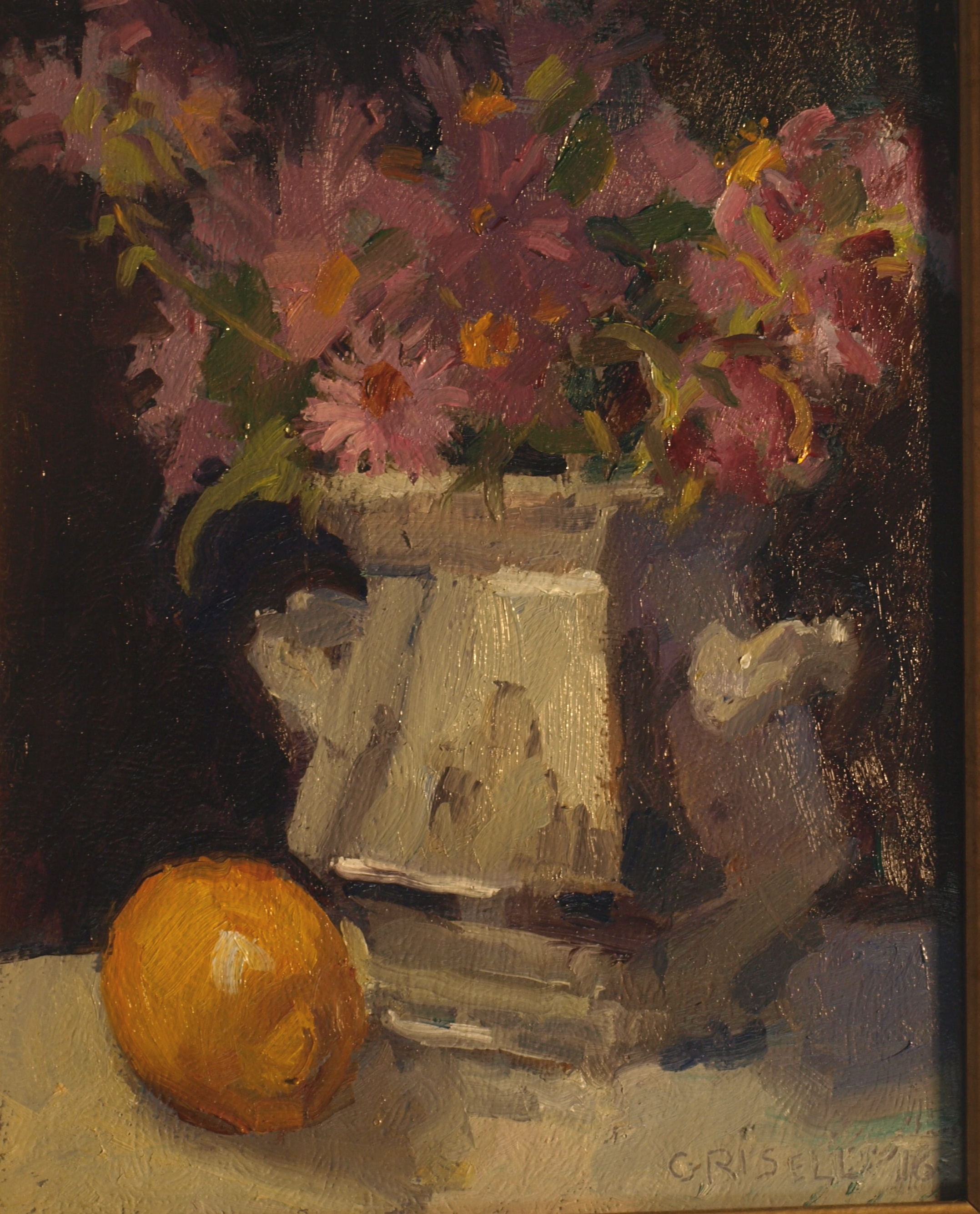 New England Asters, Oil on Panel, 10 x 8 Inches, by Susan Grisell, $200
