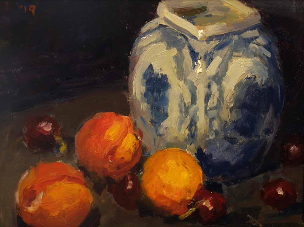 Peaches and Porcelain, Oil on Panel, 8 x 10 Inches, by Susan Grisell, $200
