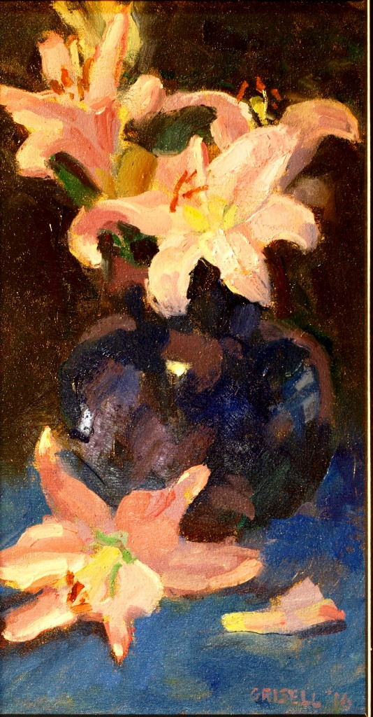 Pink and Blue, Oil on Canvas on Panel, 16 x 9 Inches, by Susan Grisell, $275