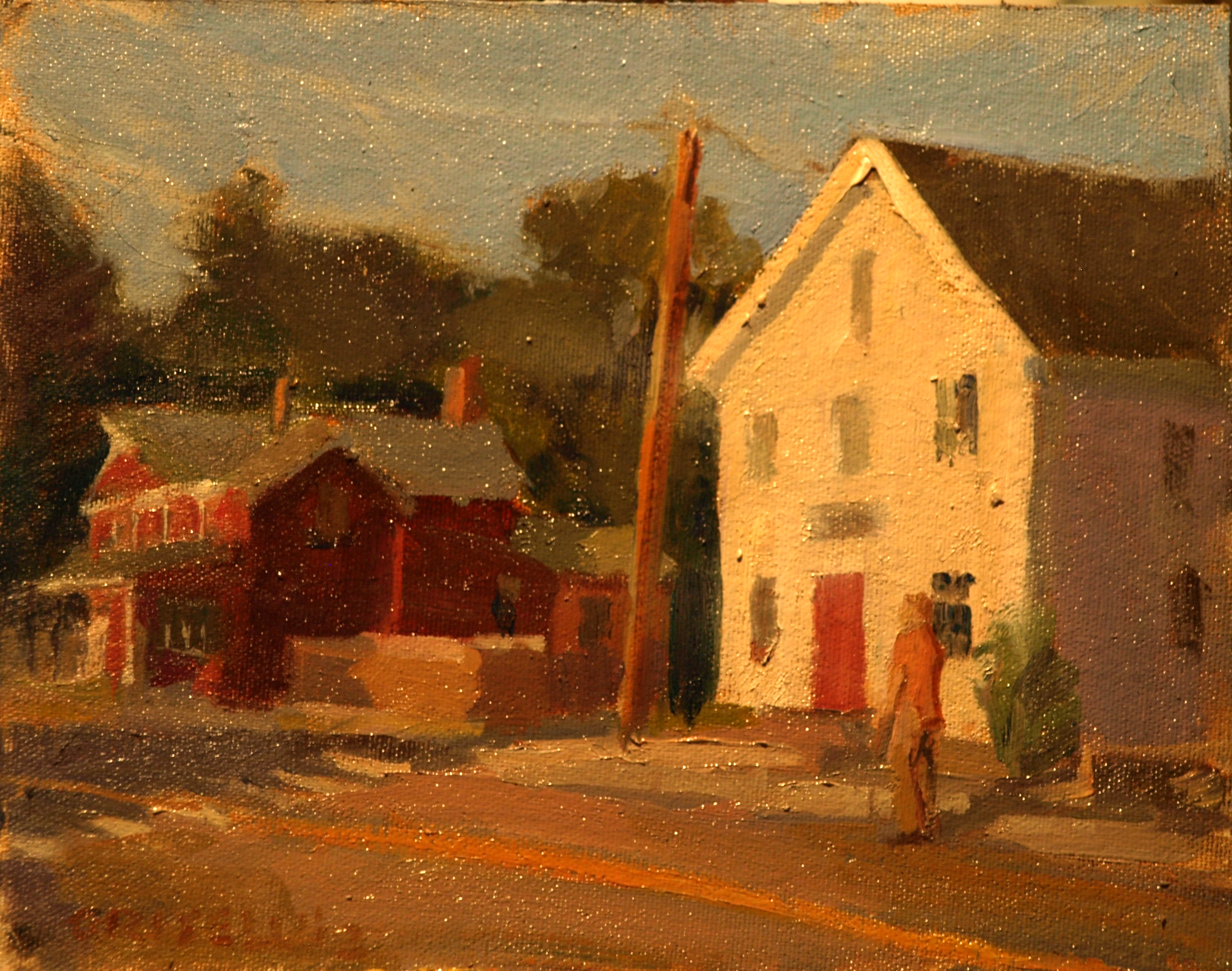 Street - North Stonington, Oil on Canvas on Panel, 8 x 10 Inches, by Susan Grisell, $150