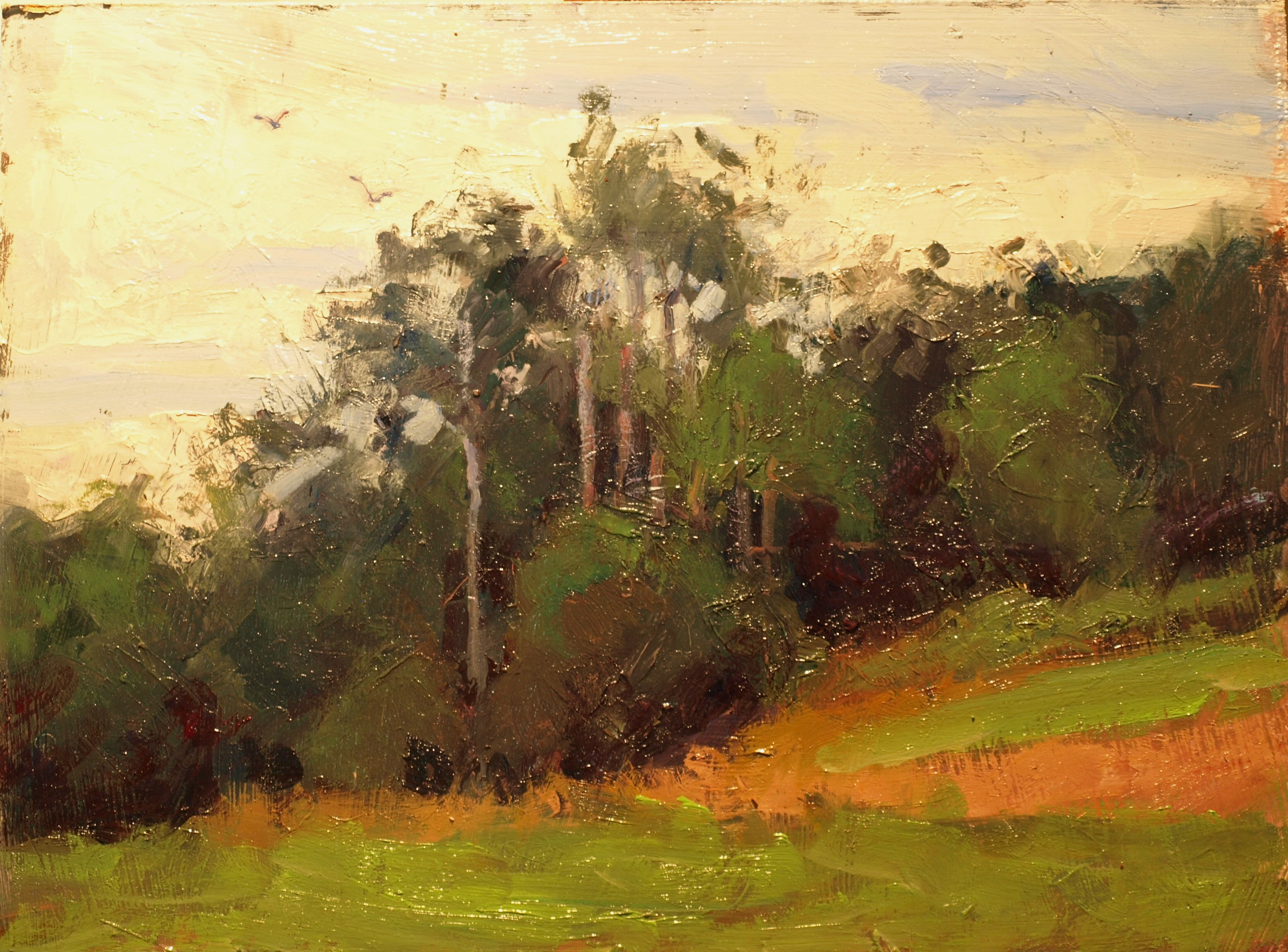 Treeline, Oil on Panel, 12 x 16 Inches, by Susan Grisell, $300
