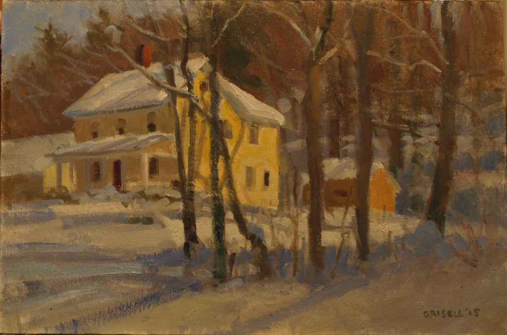 Yellow House in Snow, Oil on Canvas on Panel, 12 x 18 Inches, by Susan Grisell, $350