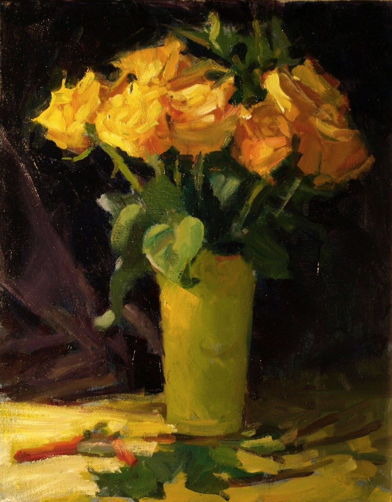 Yellow Roses, Oil on Canvas, 20 x 16 Inches, by Susan Grisell, $550