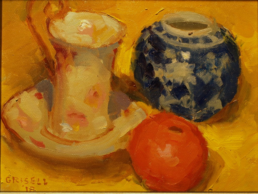 Cocoa Cup and Orange, Oil on Panel, 8 x 10 Inches, by Susan Grisell, $200