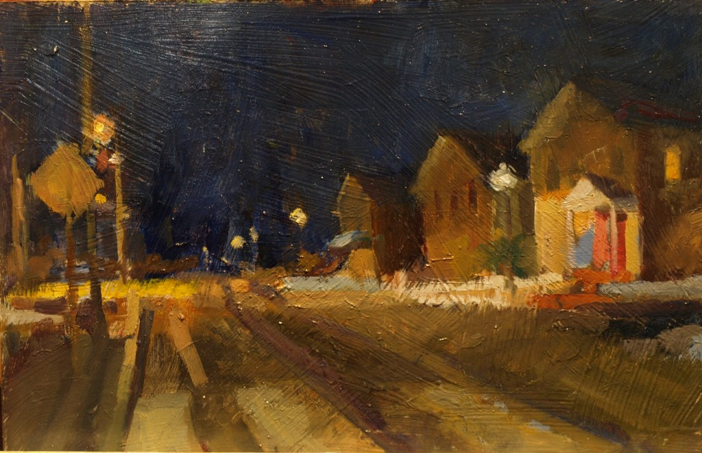 New Milford Nocturne, Oil on Canvas on Panel, 12 x 18 Inches, by Susan Grisell, $330