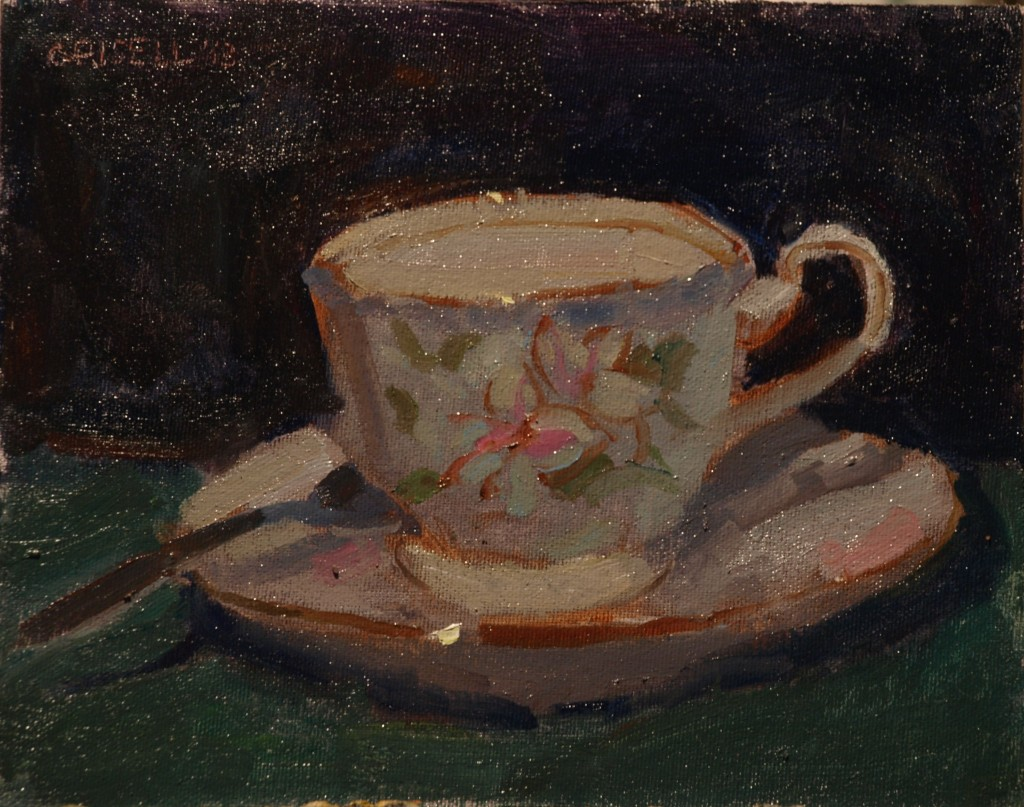 Painted Teacup, Oil on Canvas on Panel, 8 x 10 Inches, by Susan Grisell, $150