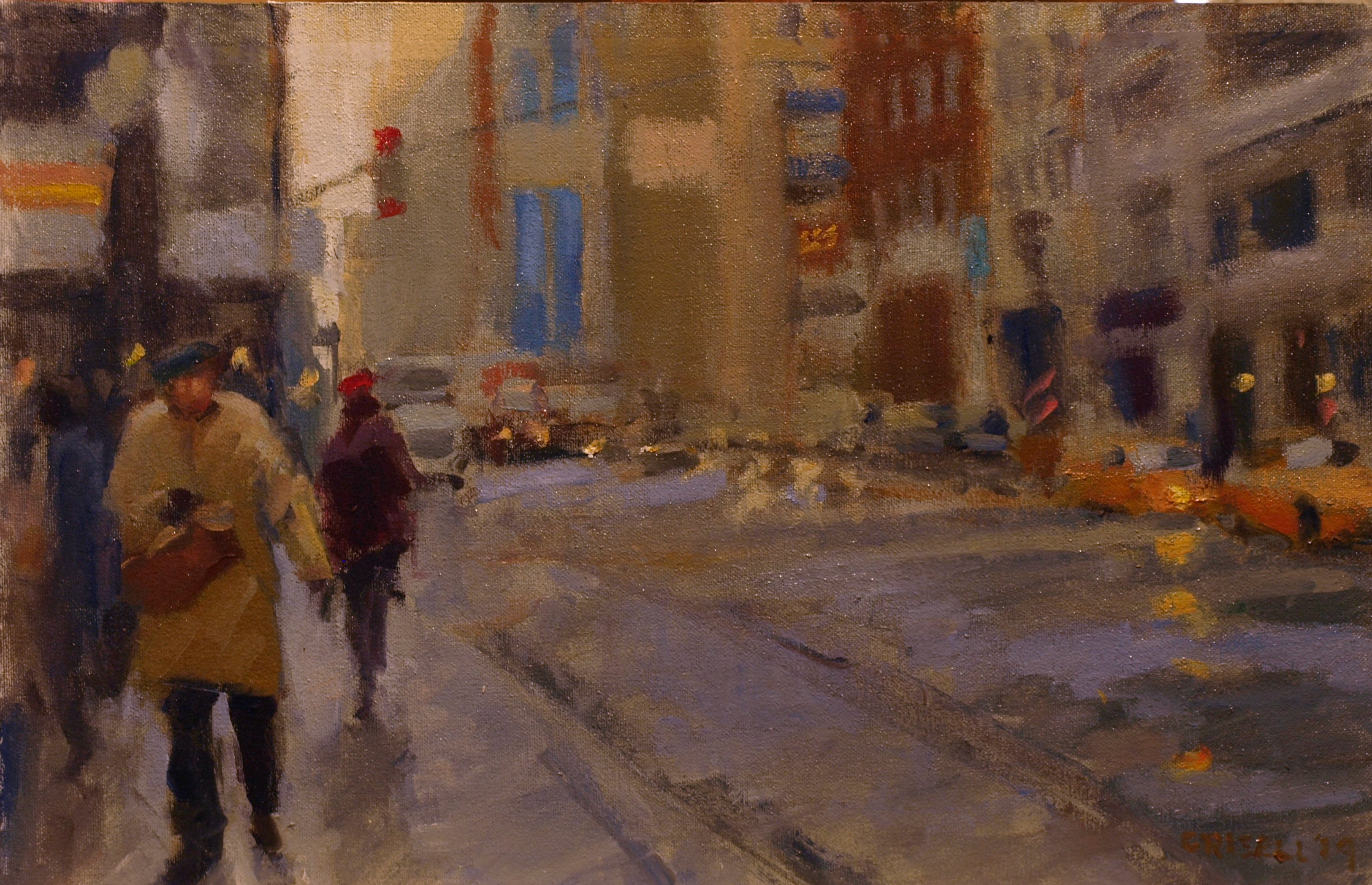 Busy Sidewalk, Oil on Canvas on Panel, 12 x 18 Inches, by Susan Grisell, $350