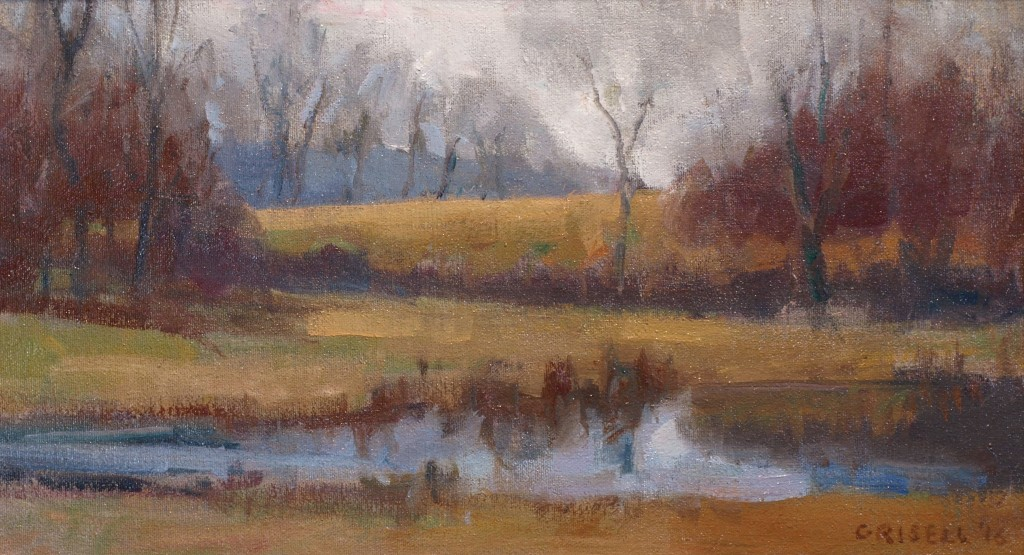 Early Spring, Oil on Canvas on Panel, 9 x 16 Inches, by Susan Grisell, $275
