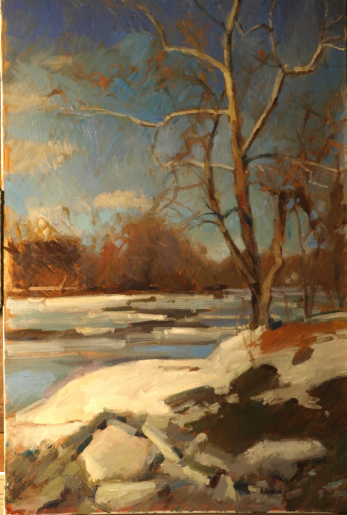 Ice Floes - Housatonic, Oil on Canvas, 36 x 24 Inches, by Susan Grisell, $1200