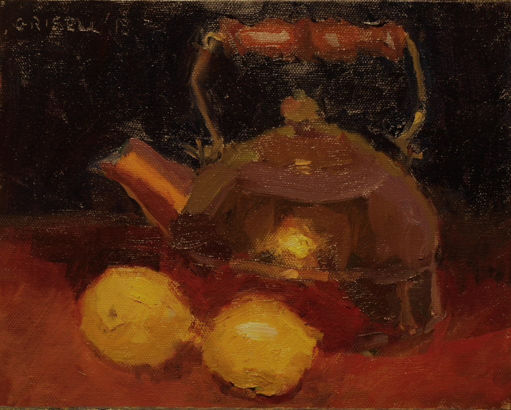 Lemons an Tea Kettle, Oil on Panel, 8 x 10 Inches, by Susan Grisell, $200