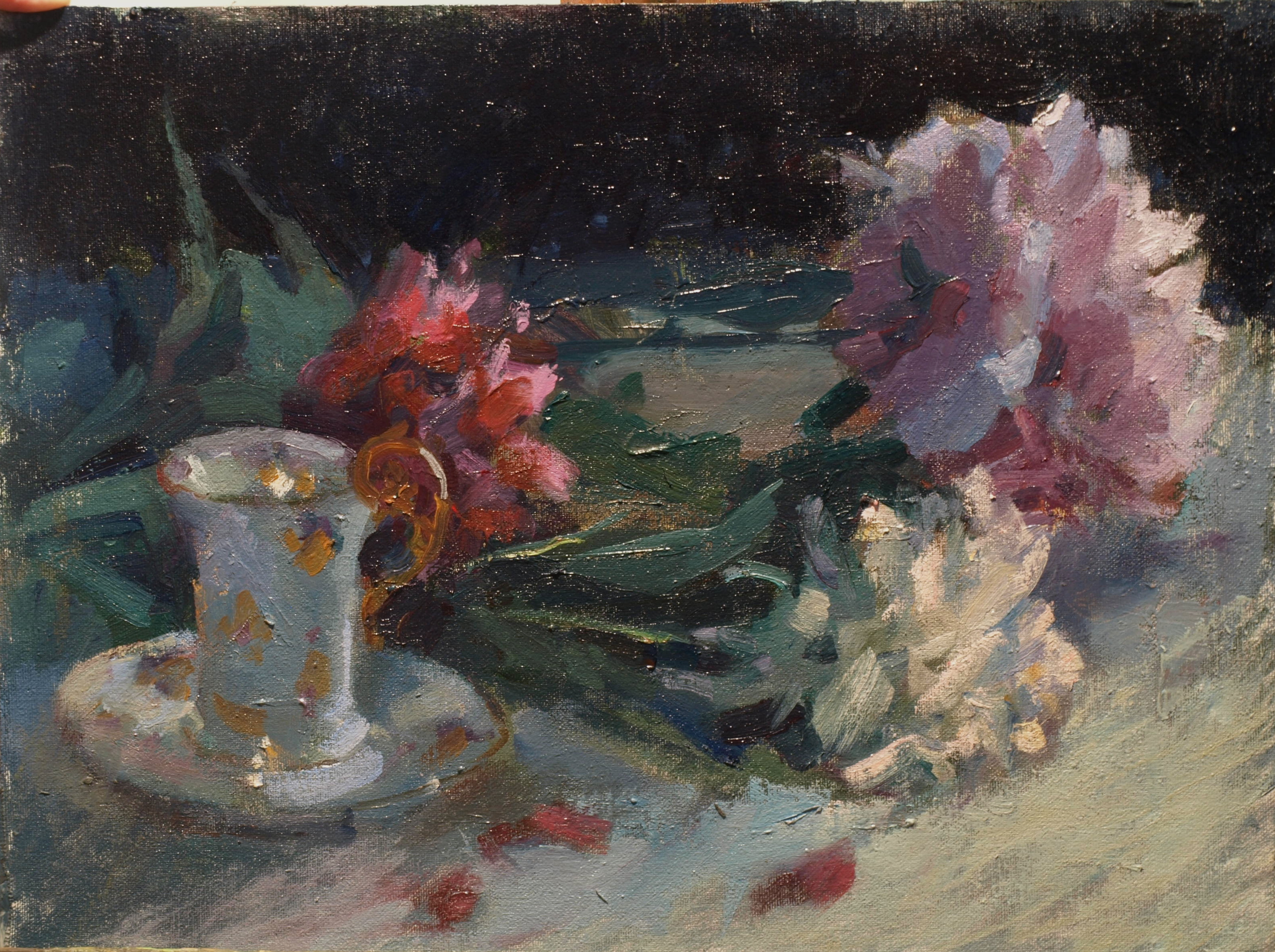 Peonies and Chocolate Cup, Oil on Canvas on Panel, 12 x 16 Inches, by Susan Grisell, $300