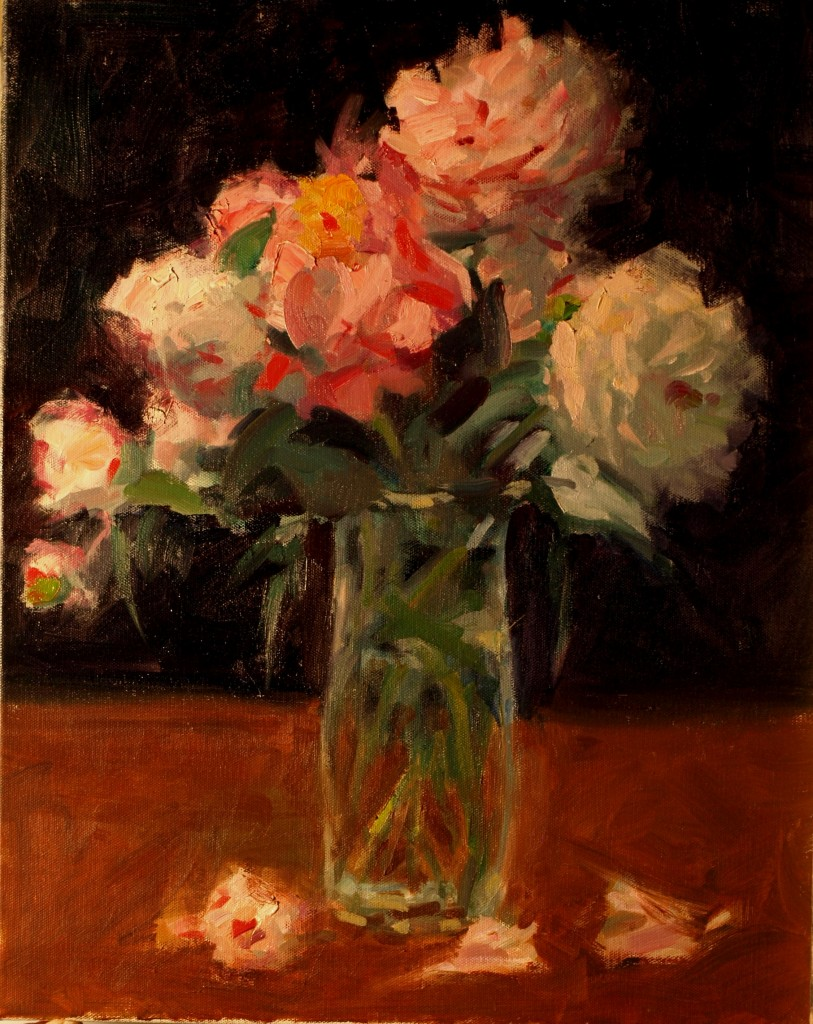 Peonies in Glass Vase, Oil on Canvas, 20 x 16 Inches, by Susan Grisell, $500