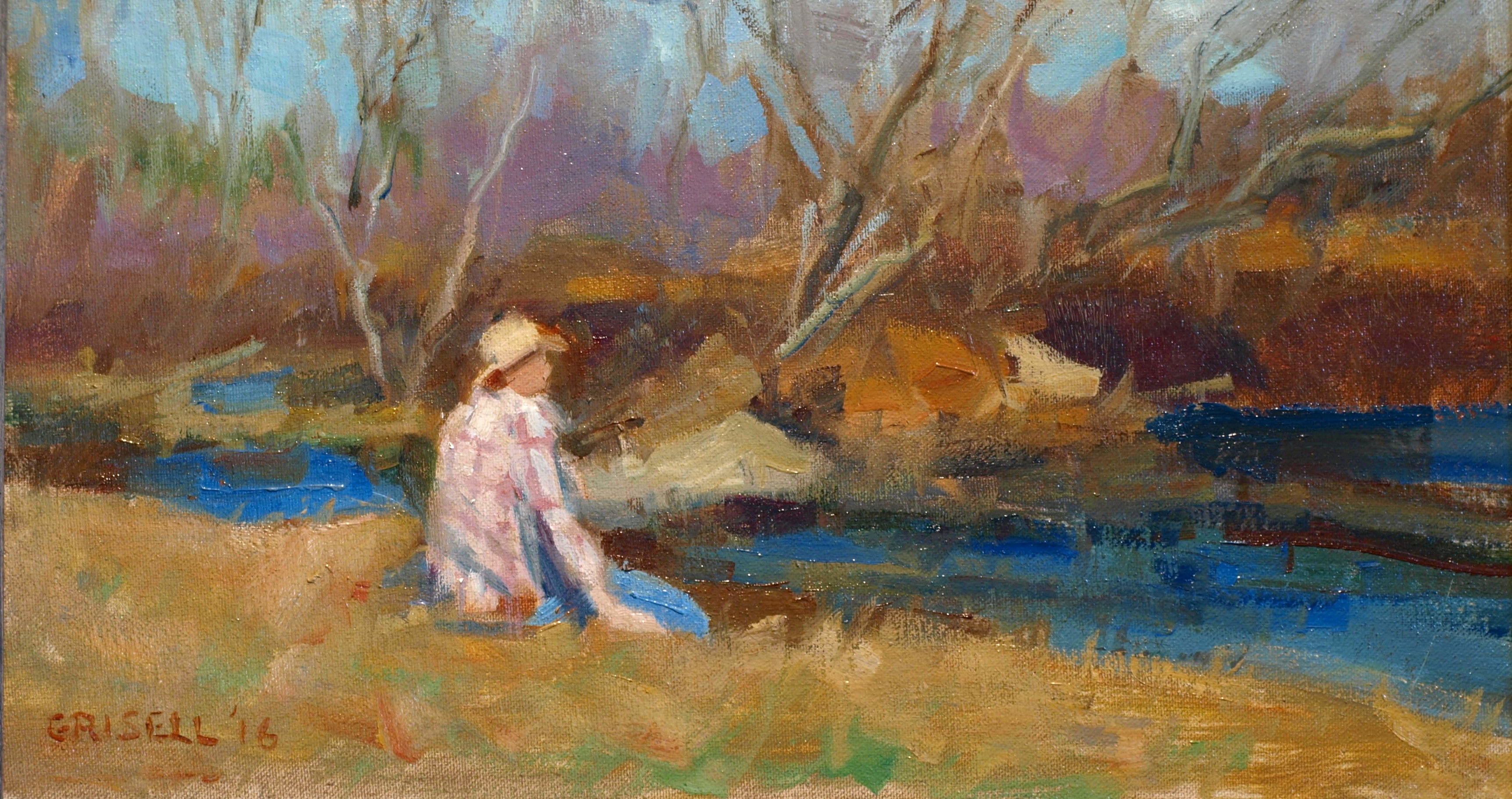 Aspetuck River, Oil on Canvas on Panel, 9 x 16 Inches, by Susan Grisell, $250