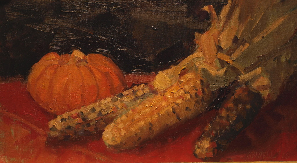 Indian Corn, Oil on Canvas on Panel, 9 x 16 Inches, by Susan Grisell, $275