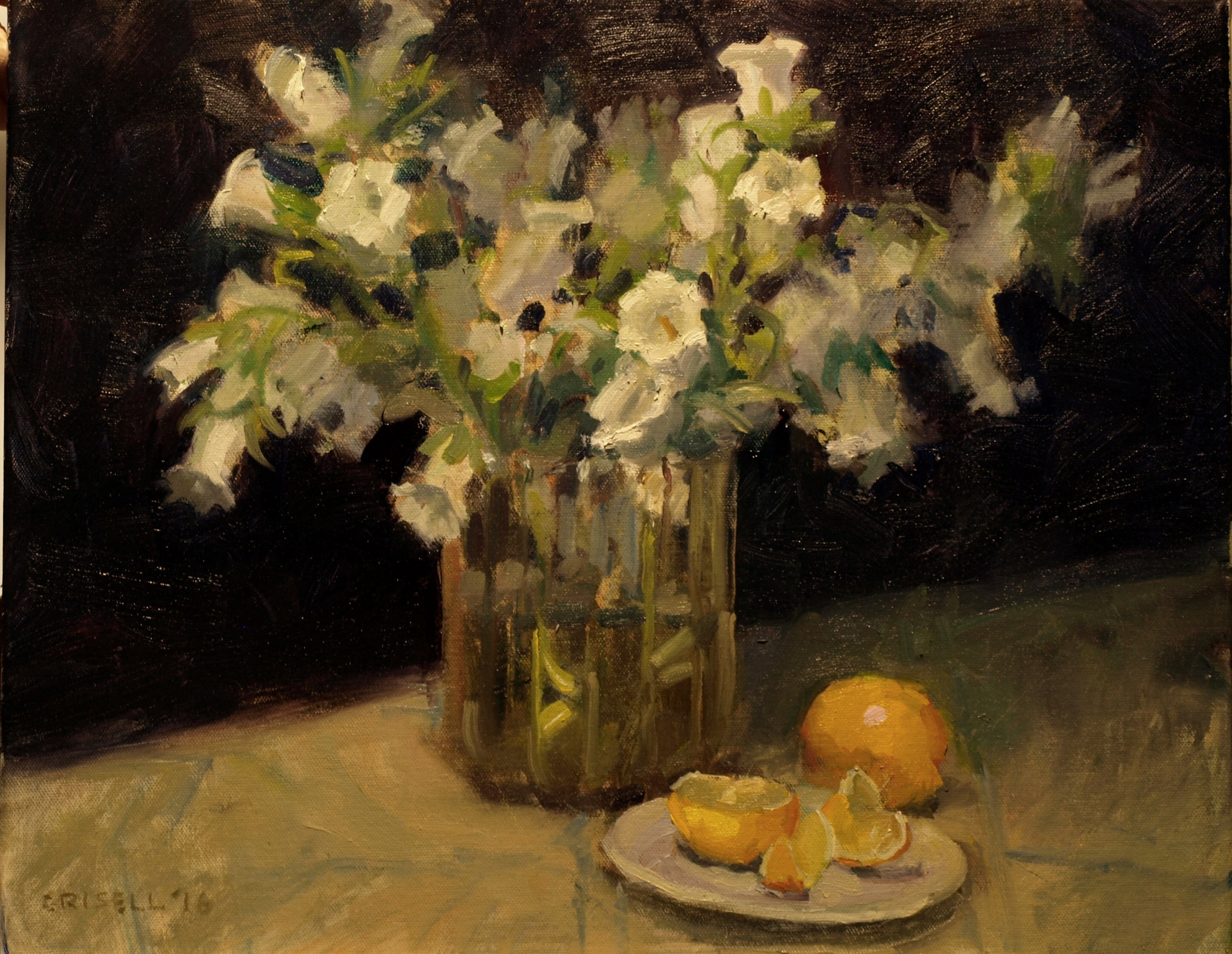 Lisianthus, Oil on Canvas, 16 x 20 Inches, by Susan Grisell, $550