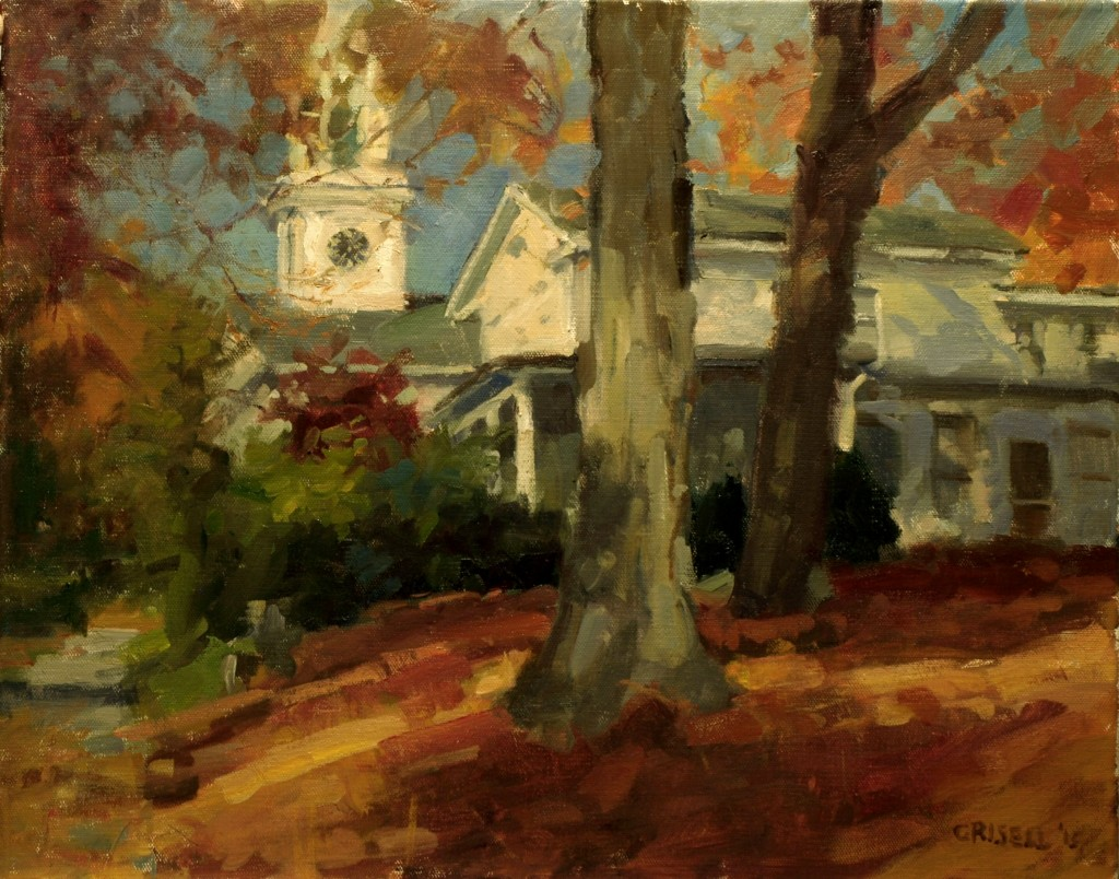 October - New Milford, Oil on Canvas, 16 x 20 Inches, by Susan Grisell, $525
