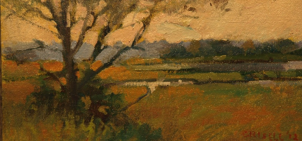 Trees, Barn Island, Oil on Canvas on Panel, 6 x 12 Inches, by Susan Grisell, $150