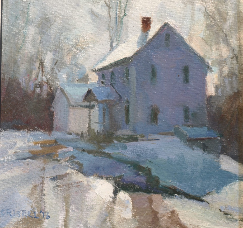 Sun and Snow, Oil on Canvas on Panel, 12 x 12 Inches, by Susan Grisell, $275