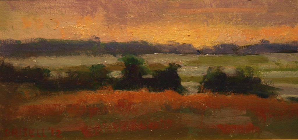 View from Fort Hill, Oil on Canvas on Panel, 6 x 12 Inches, by Susan Grisell, $150