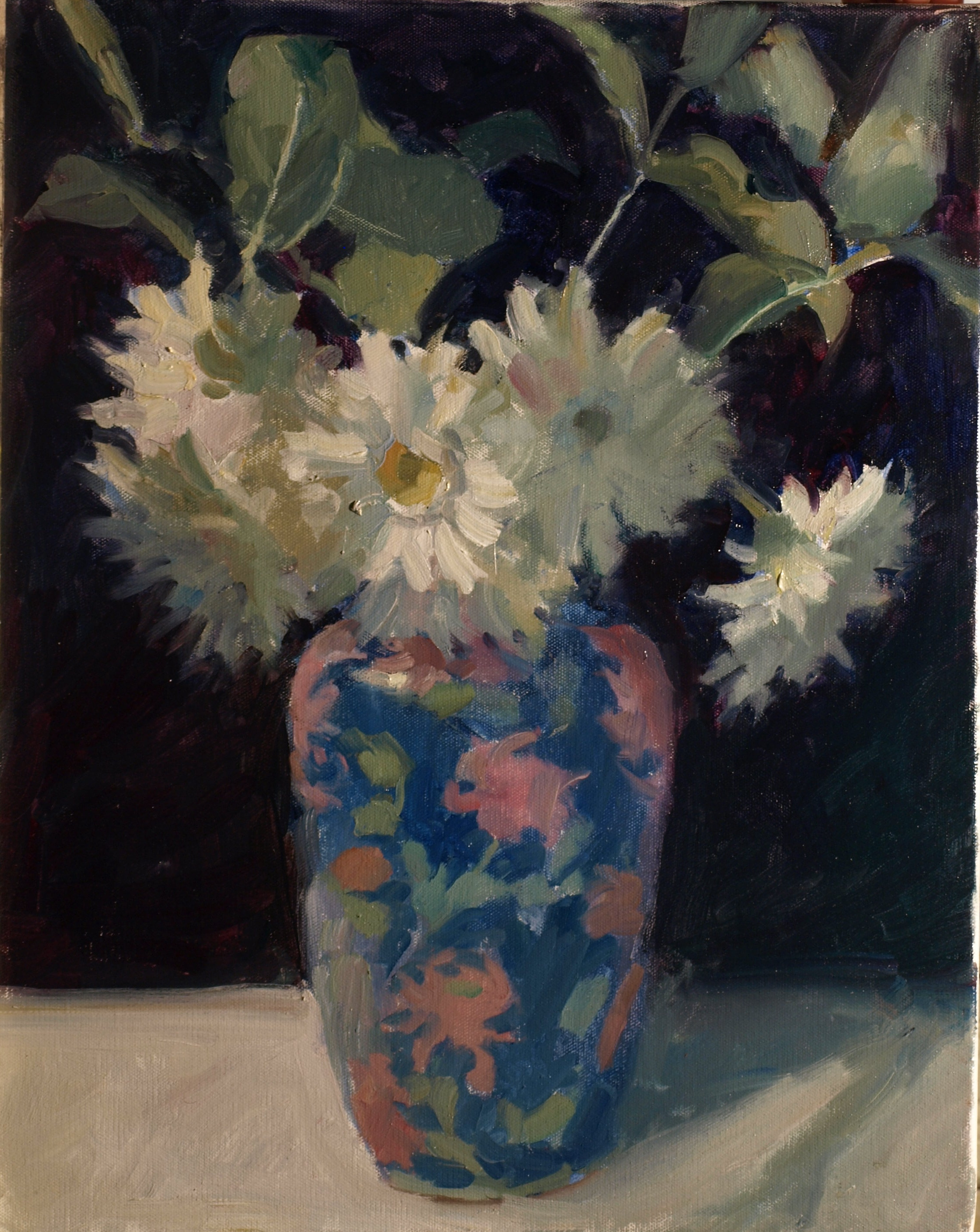 White Mums, Oil on Canvas, 20 x 16 Inches, by Susan Grisell, $550