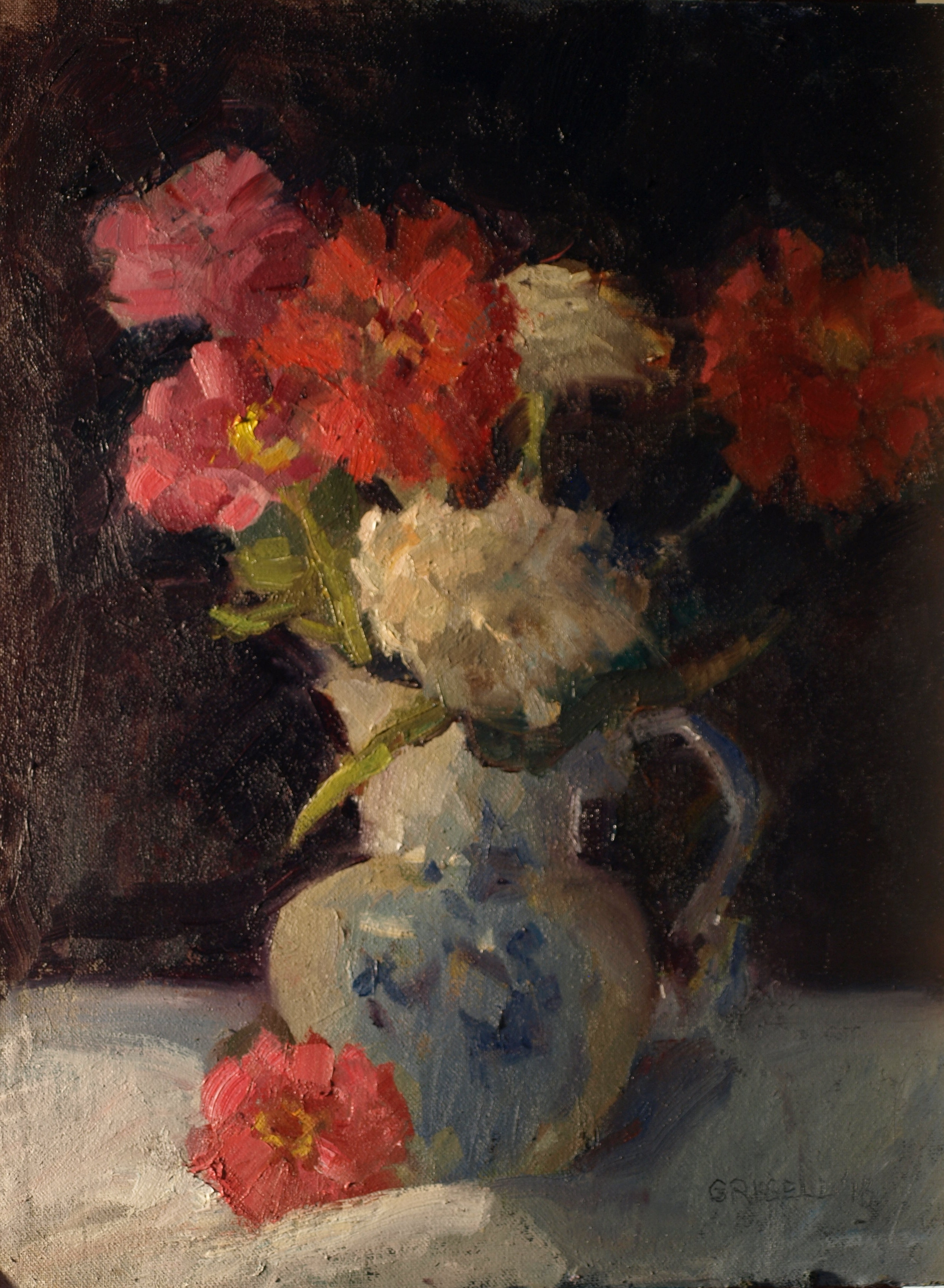 Zinnias and Pitcher, Oil on Canvas on Panel, 16 x 12 Inches, by Susan Grisell, $300