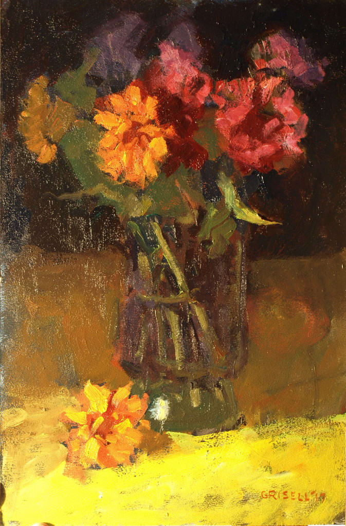 Zinnias, Oil on Panel, 18 x 12 Inches, by Susan Grisell, $300