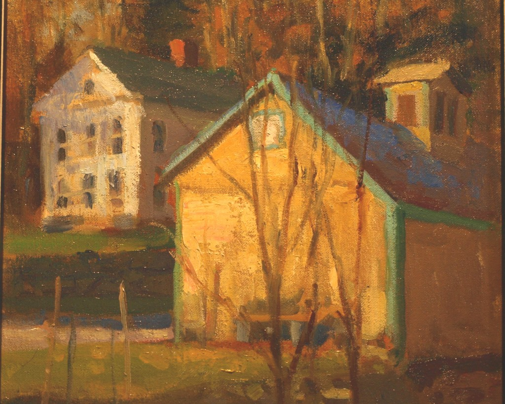 New Preston Buildings, Oil on Canvas on Panel, 12 x 12 Inches, by Susan Grisell, $250