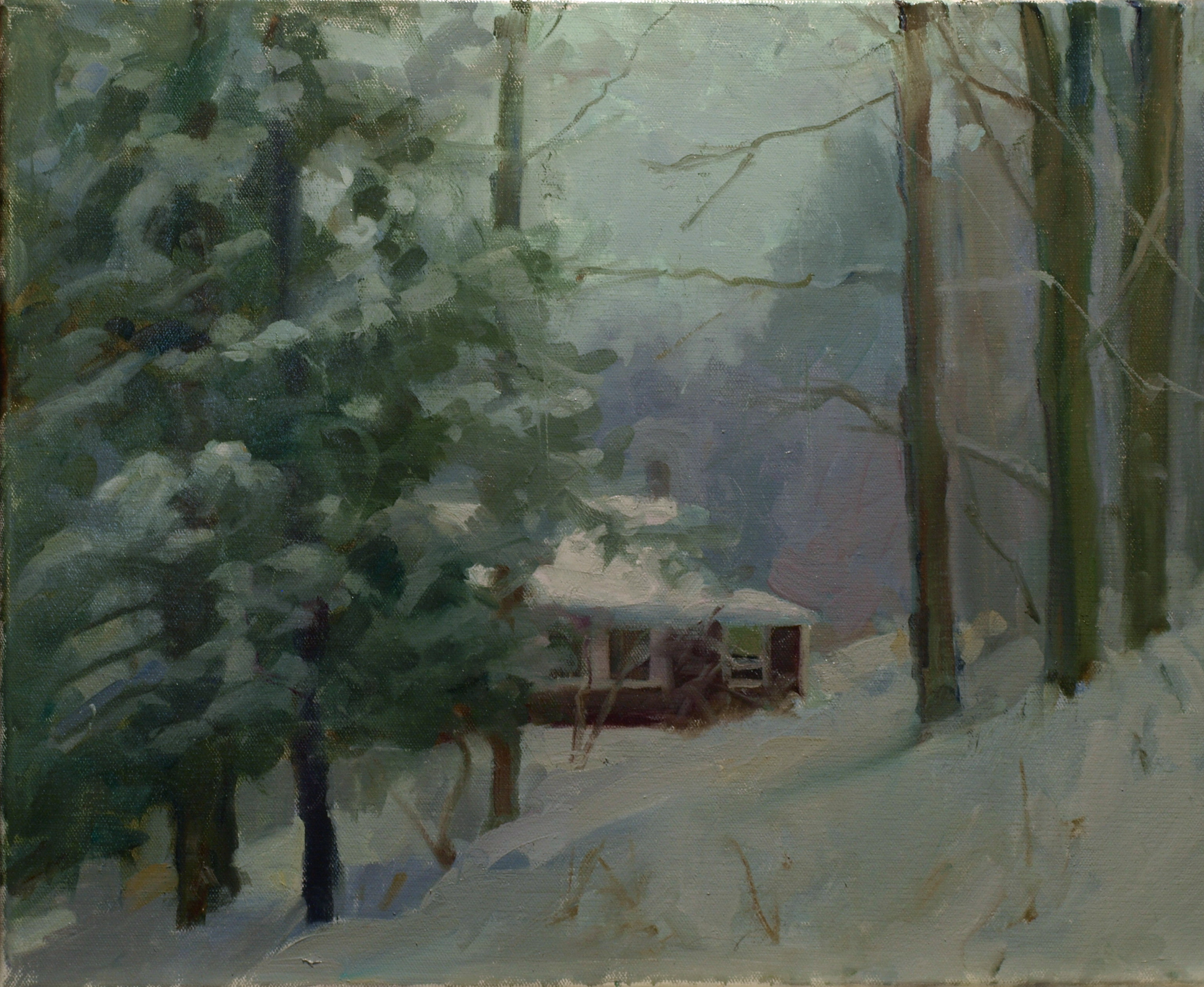 Winter at Home, Oil on Canvas, 16 x 20 Inches, by Susan Grisell, $475