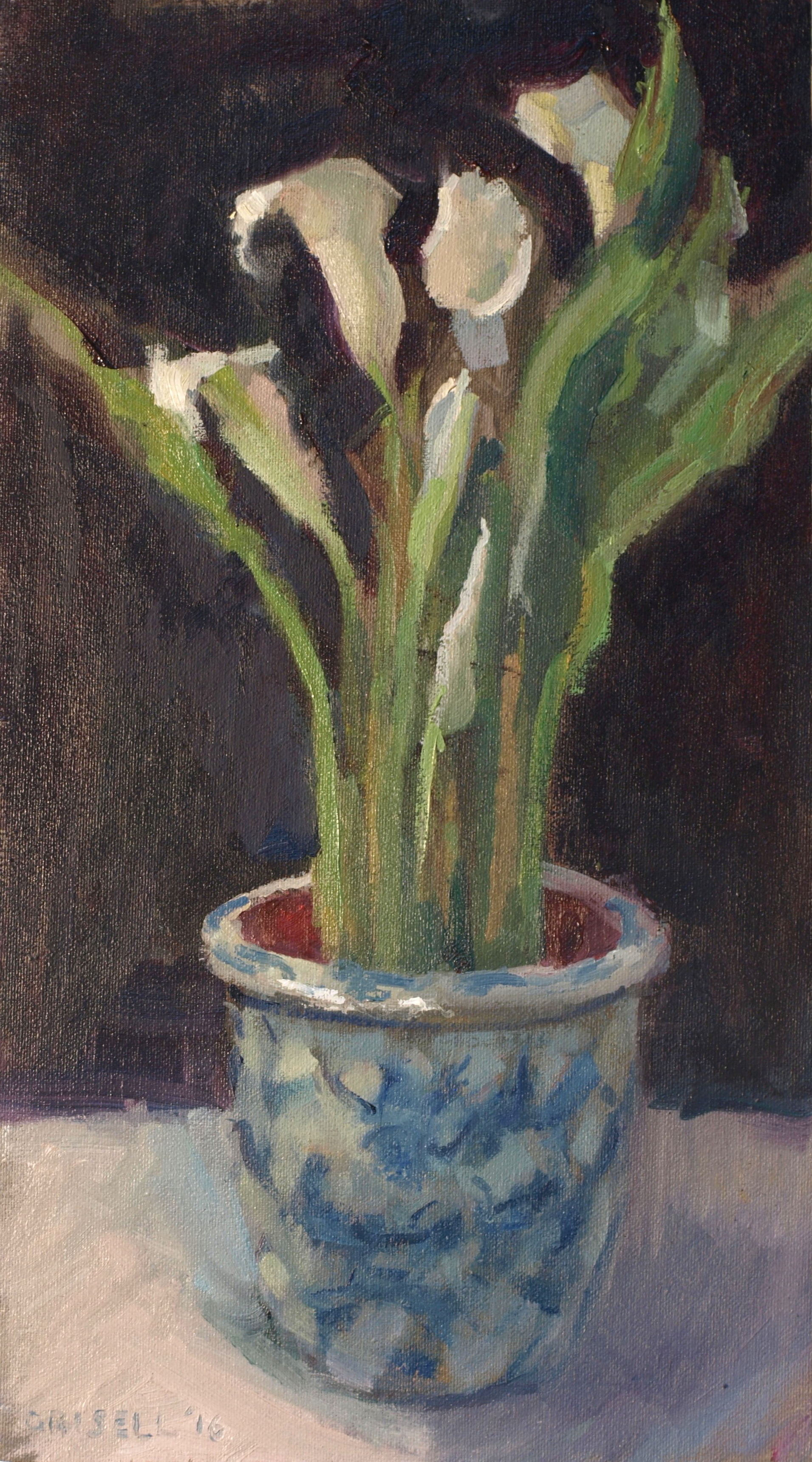 Callas in Ceramic, Oil on Canvas on Panel, 16 x 9 Inches, by Susan Grisell, $250