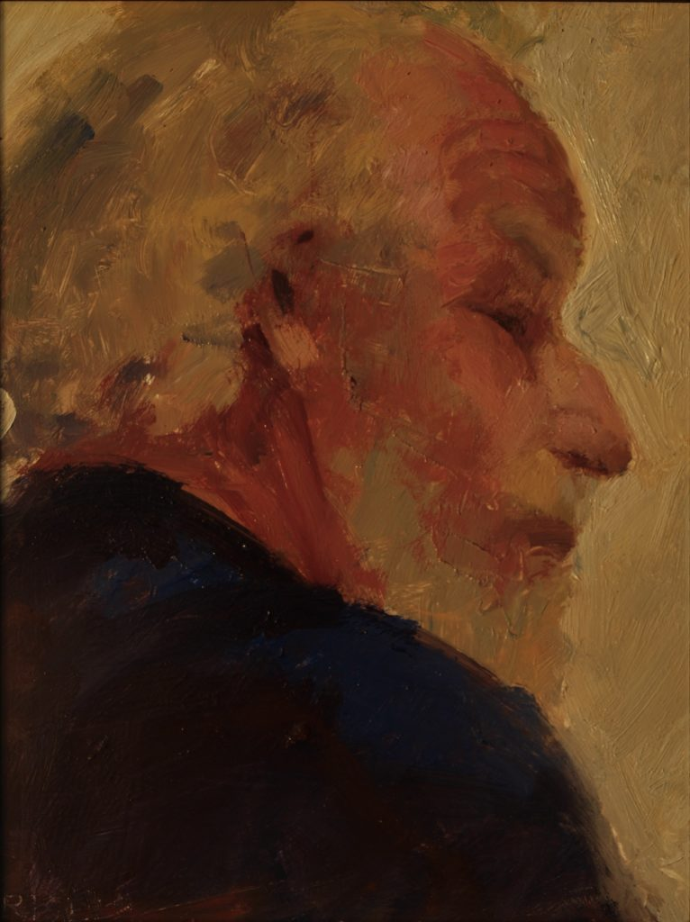 Chris in Profile, Oil on Panel, 10 x 8 Inches, by Susan Grisell, $200