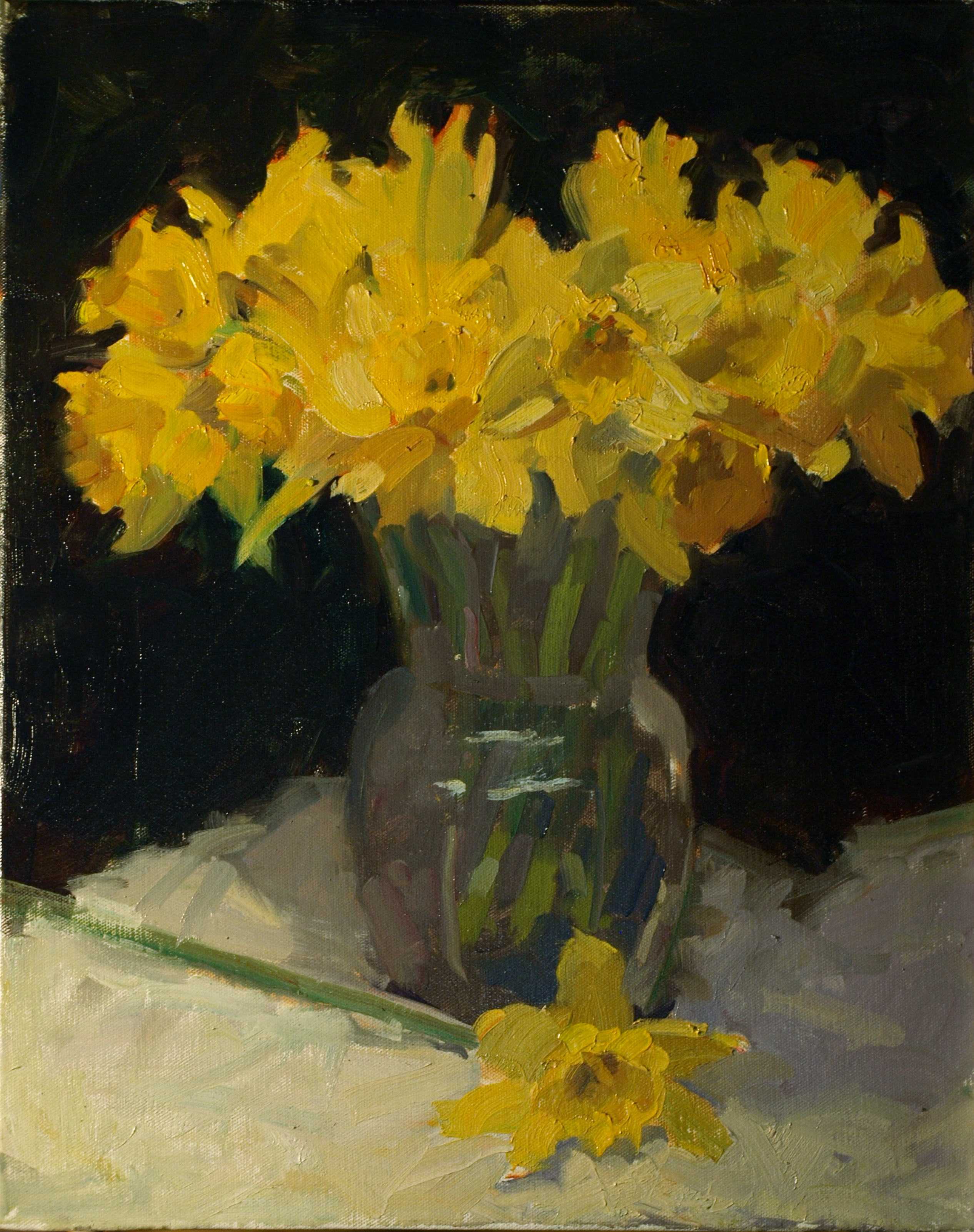 Daffodils in Glass Vase, Oil on Canvas, 20 x 16 Inches, by Susan Grisell, $525