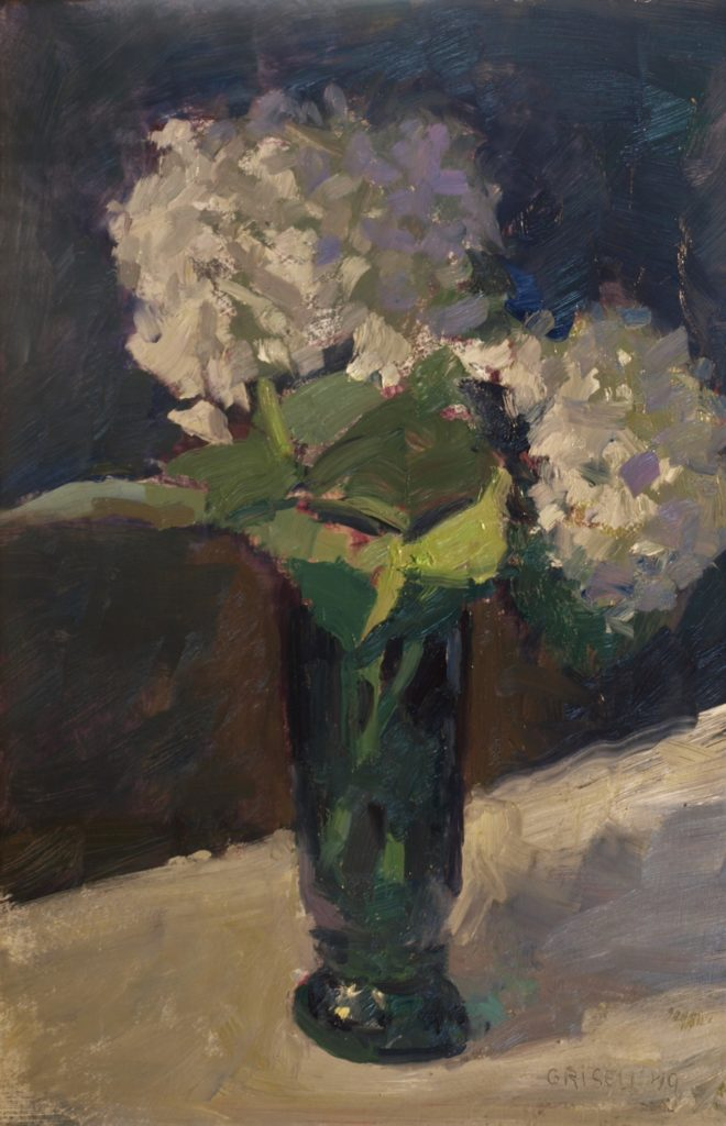 Hydrangeas in Green Vase, Oil on Panel, 18 x 12 Inches, by Susan Grisell, $300