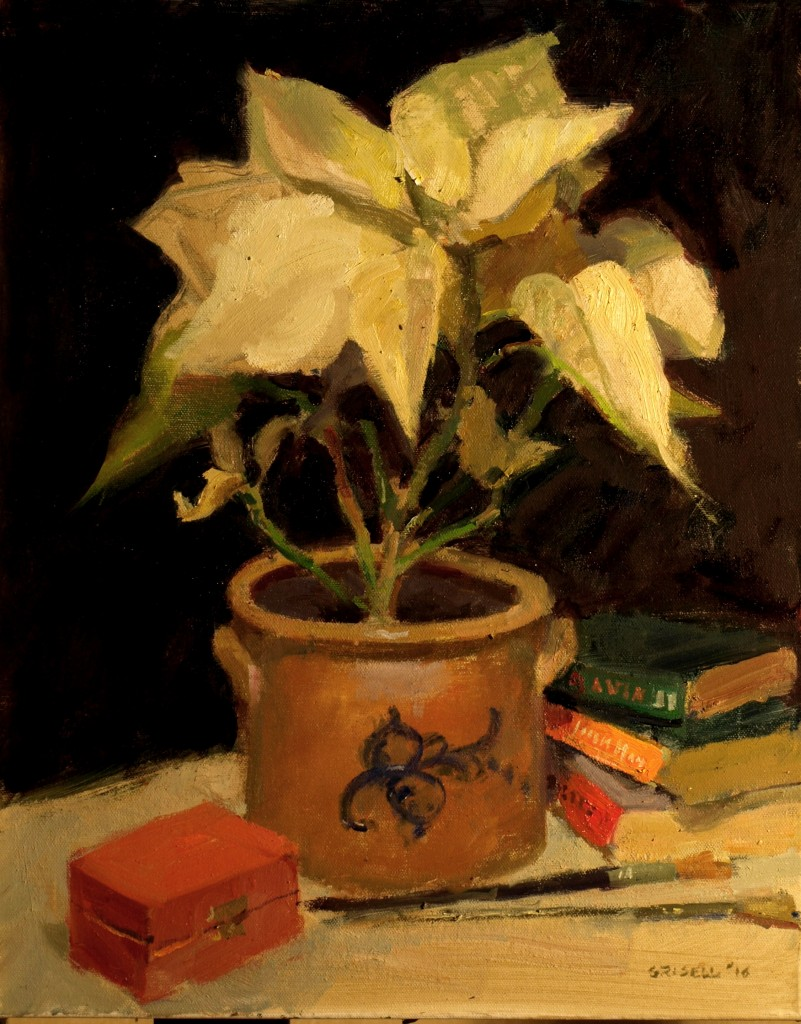 White Poinsettia, Oil on Canvas, 20 x 16 Inches, by Susan Grisell, $550