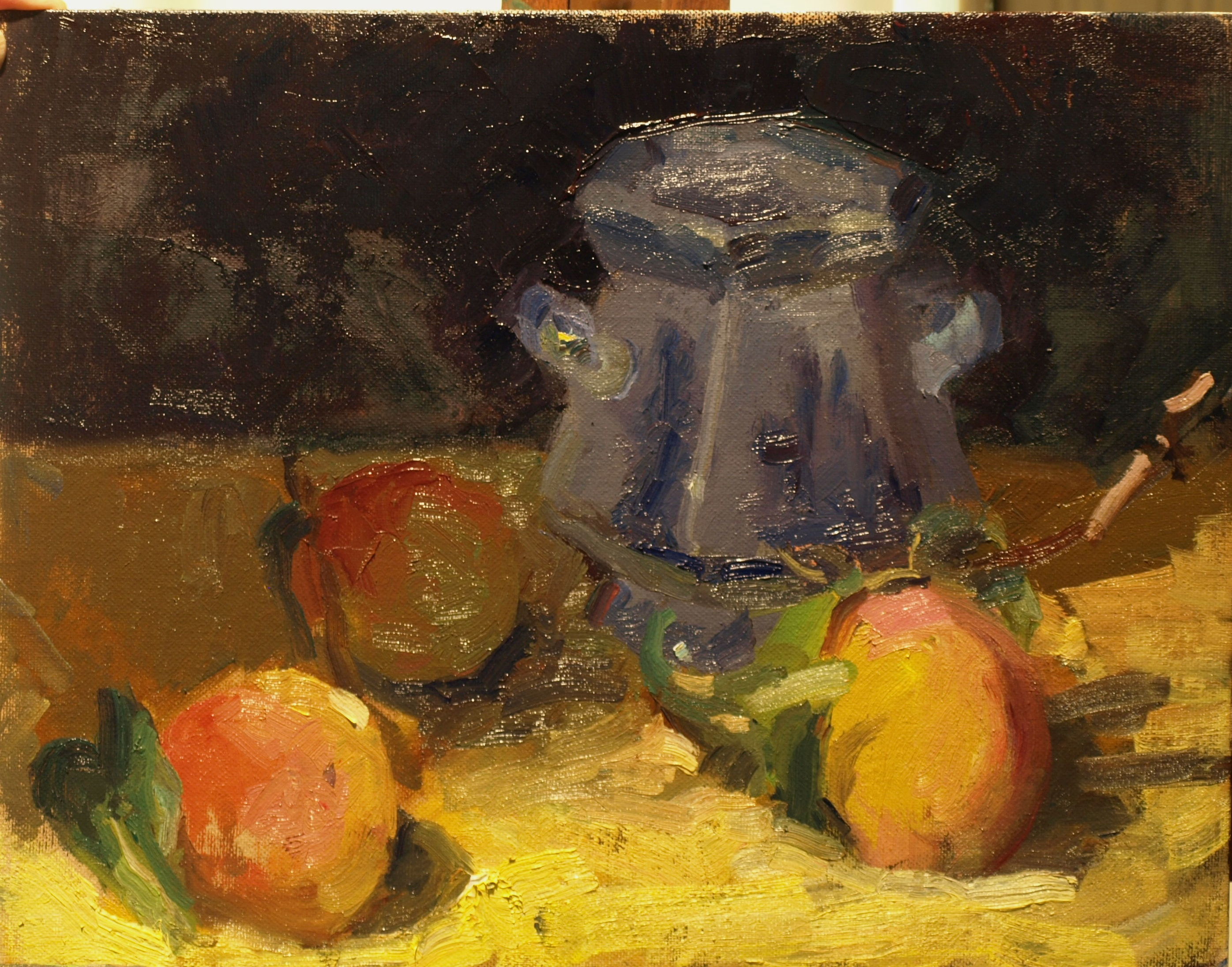 Peaches and Sugar Bowl, Oil on Panel, 11 x 14 Inches, by Susan Grisell, $300