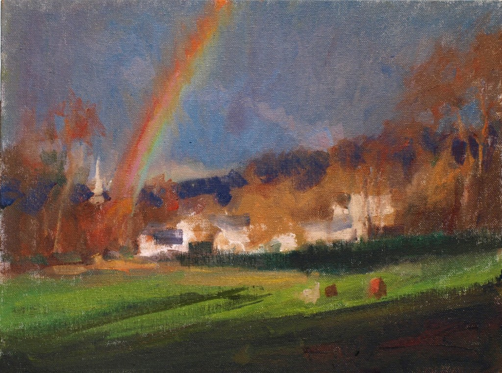 April in Gaylordsville, Oil on Canvas on Panel, 12 x 16 Inches, by Susan Grisell, $300