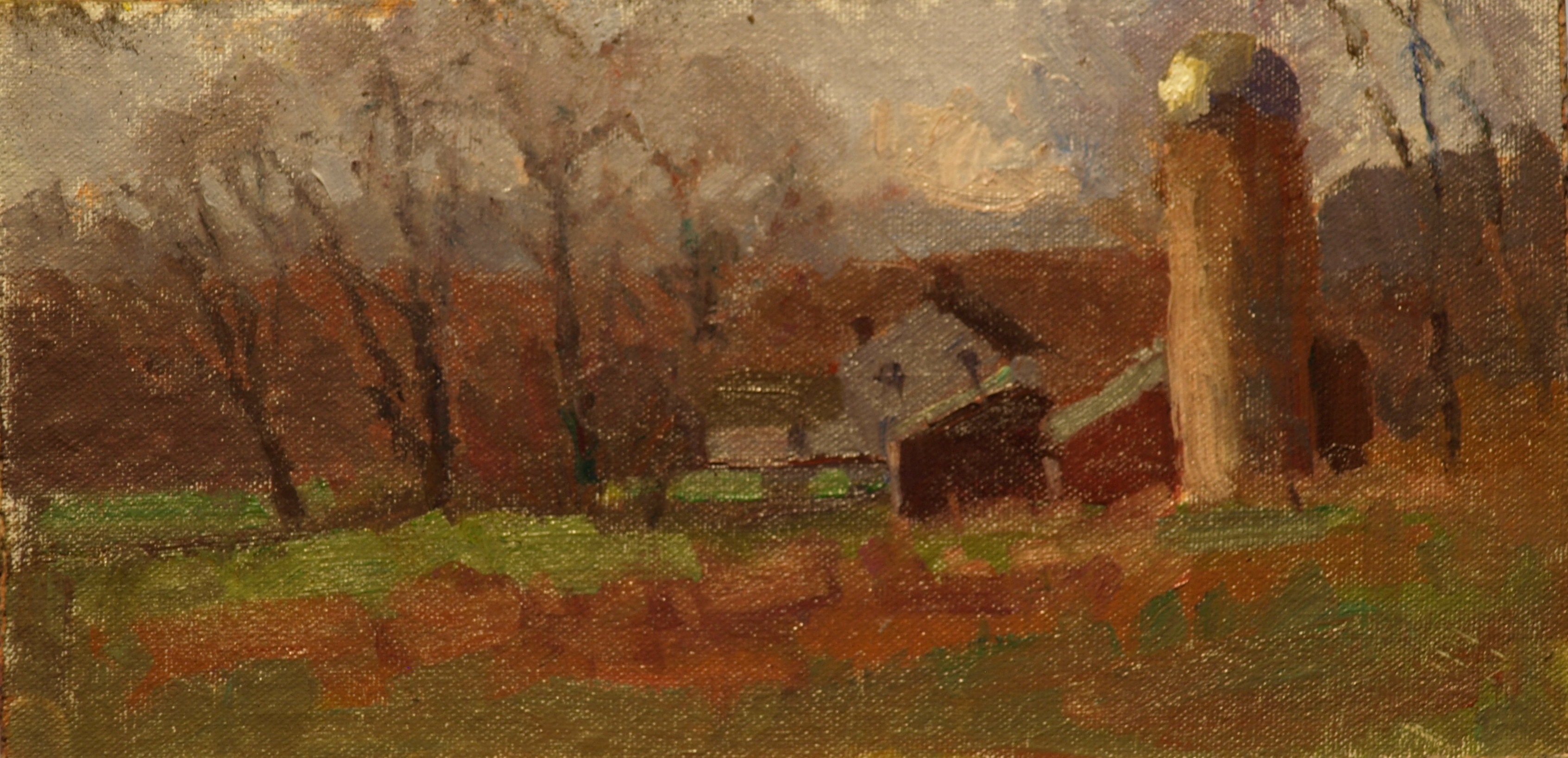 Lindburgh Farm, Oil on Canvas on Panel, 6 x 12 Inches, by Susan Grisell, $150