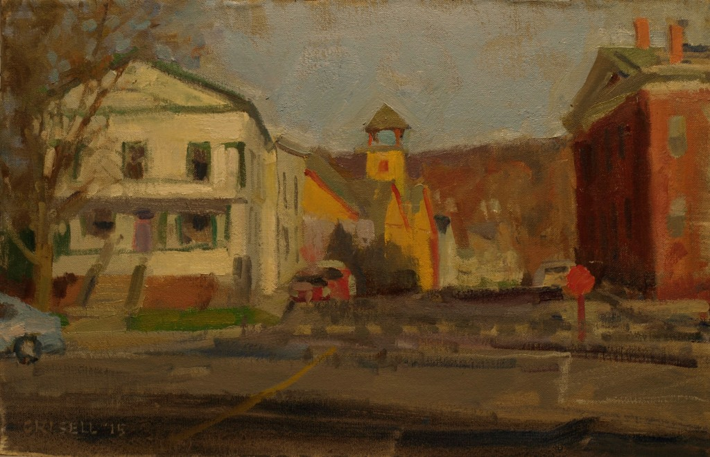 New Milford Center, 12 x 18 Inches, Oil on Canvas on Panel, by Susan Grisell, $300