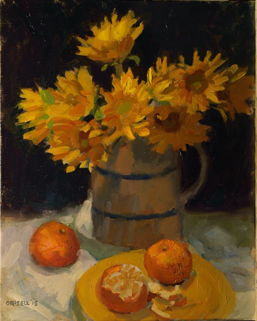 Orange and Yellow, Oil on Canvas, 20 x 16 Inches, by Susan Grisell, $550