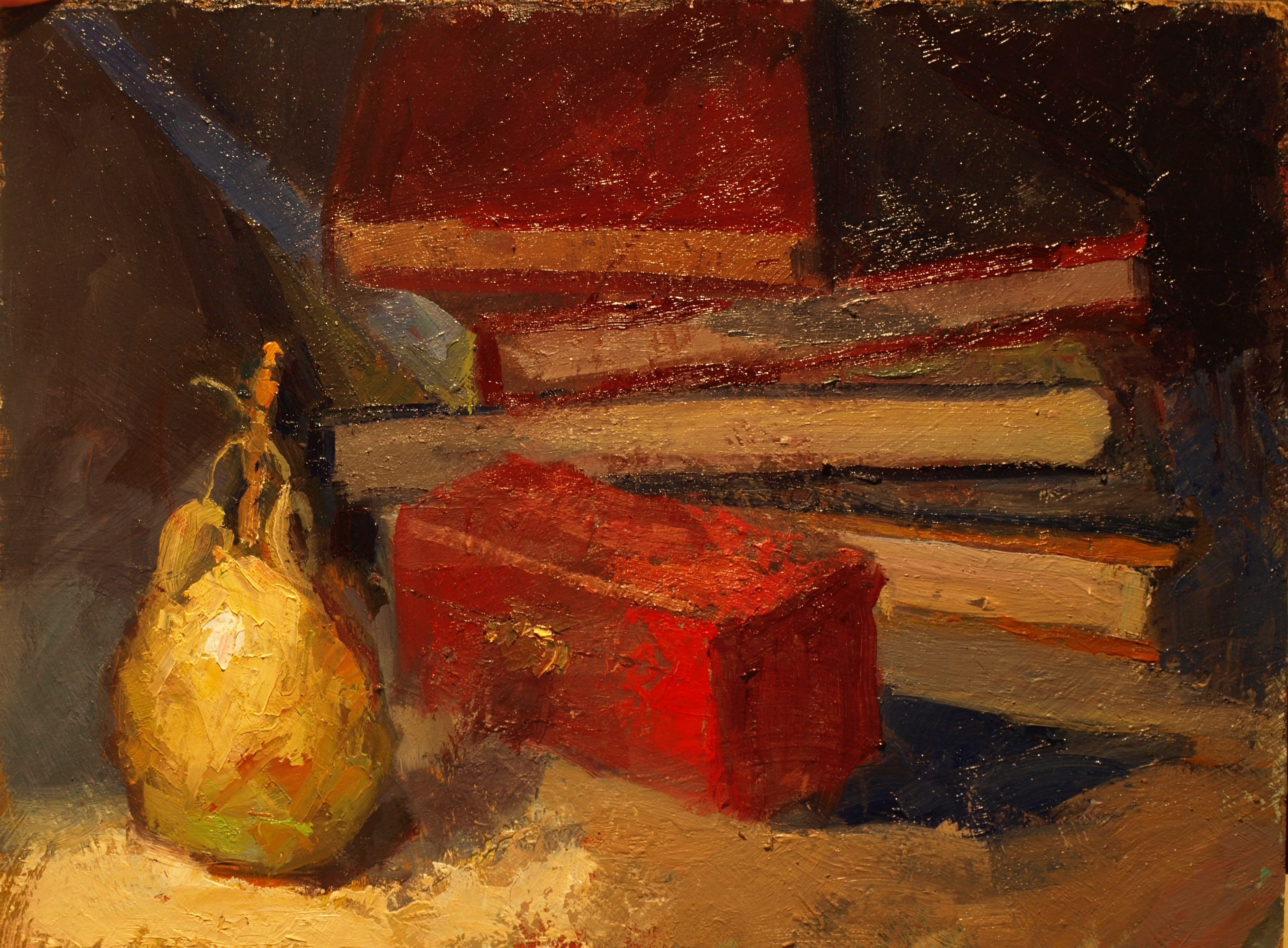 Pear and Books, Oil on Panel, 12 x 16 Inches, by Susan Grisell, $300