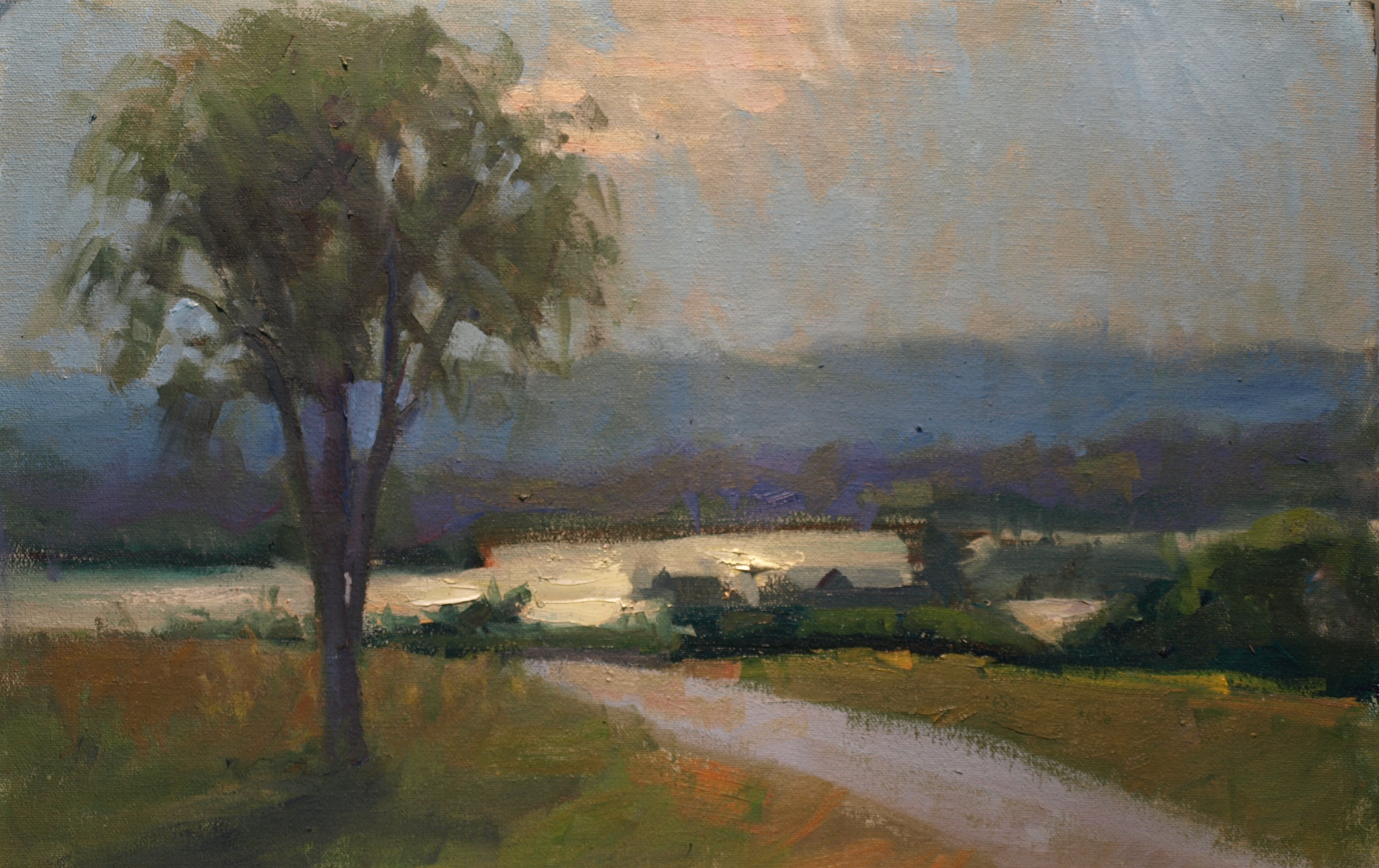 Sunlit Lake, Oil on Canvas on Panel, 12 x 18 Inches, by Susan Grisell, $300