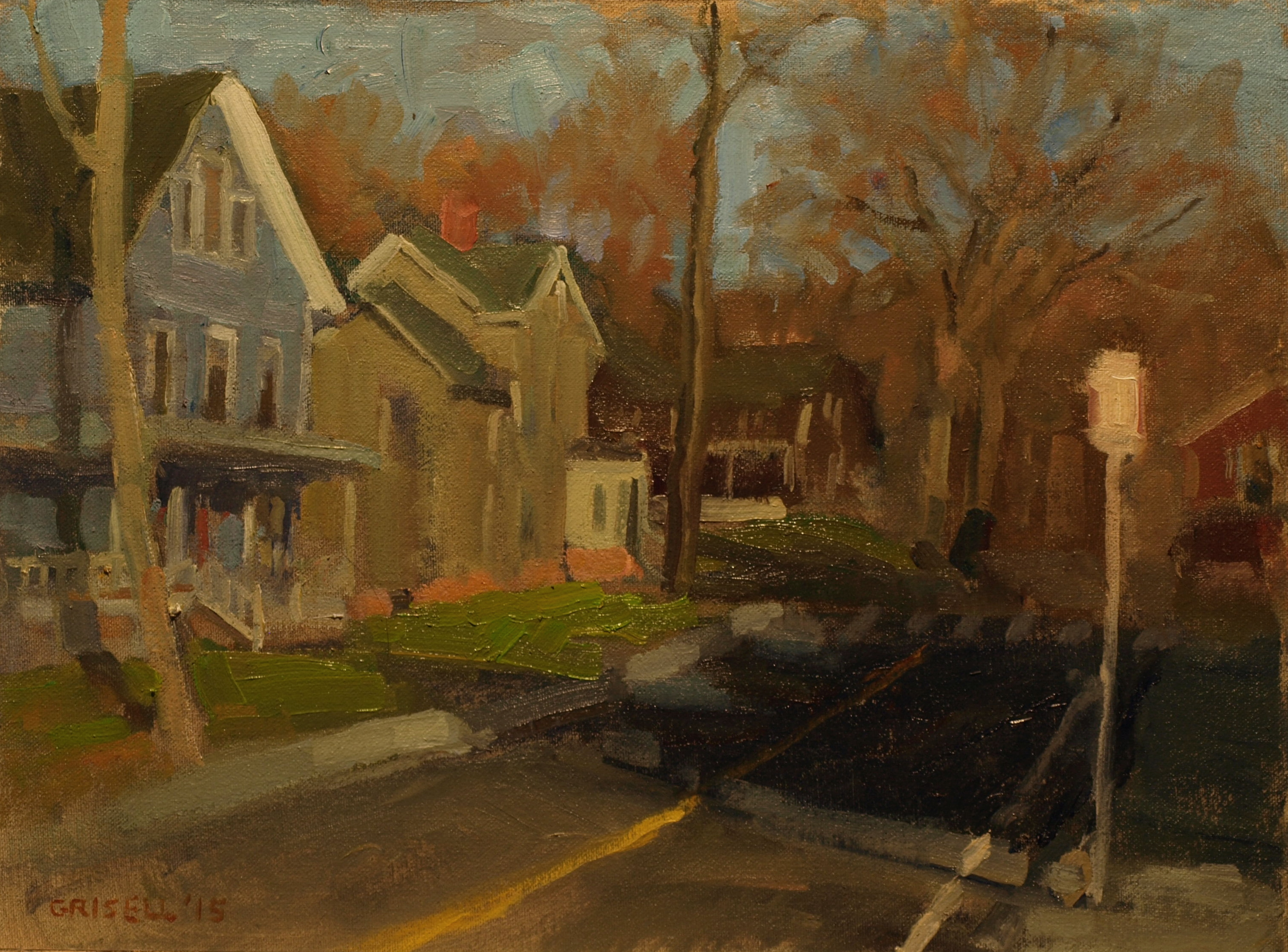 Late Autumn in Town, Oil on Canvas on Panel, 12 x 16 Inches, by Susan Grisell, $300